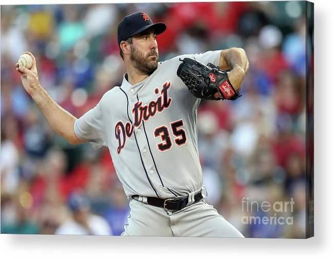 Second Inning Acrylic Print featuring the photograph Justin Verlander by Ronald Martinez