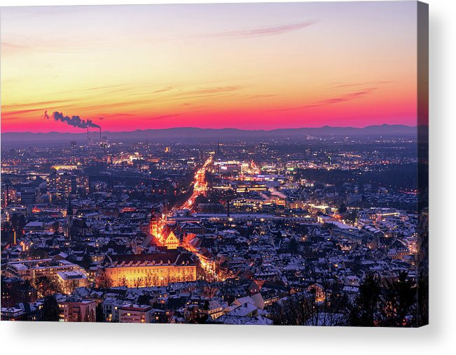 Karlsruhe Acrylic Print featuring the photograph Karlsruhe in winter at sunset by Hannes Roeckel