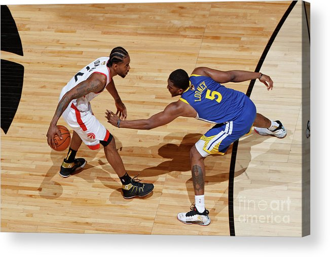 Playoffs Acrylic Print featuring the photograph Kawhi Leonard and Kevon Looney by Mark Blinch