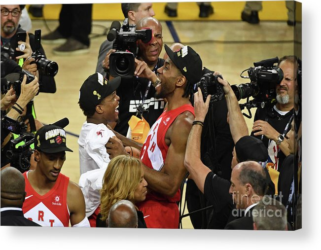 Playoffs Acrylic Print featuring the photograph Kawhi Leonard and Kyle Lowry by Garrett Ellwood