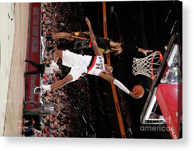 Nba Pro Basketball Acrylic Print featuring the photograph Kent Bazemore by Cameron Browne