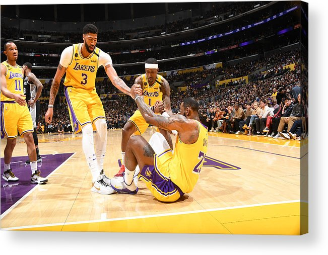 Nba Pro Basketball Acrylic Print featuring the photograph Kentavious Caldwell-pope, Anthony Davis, and Lebron James by Andrew D. Bernstein