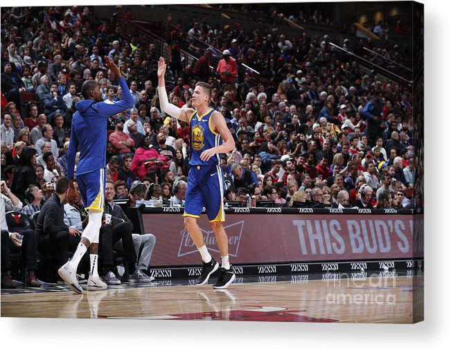 Nba Pro Basketball Acrylic Print featuring the photograph Kevin Durant and Jonas Jerebko by Jeff Haynes