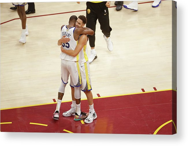 Playoffs Acrylic Print featuring the photograph Kevin Durant and Klay Thompson by Mark Blinch
