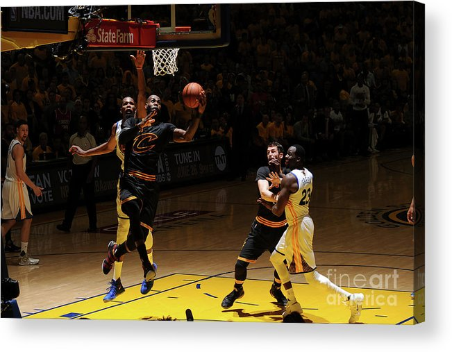 Playoffs Acrylic Print featuring the photograph Kevin Durant and Lebron James by Garrett Ellwood