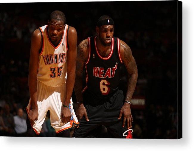 Nba Pro Basketball Acrylic Print featuring the photograph Kevin Durant and Lebron James by Issac Baldizon