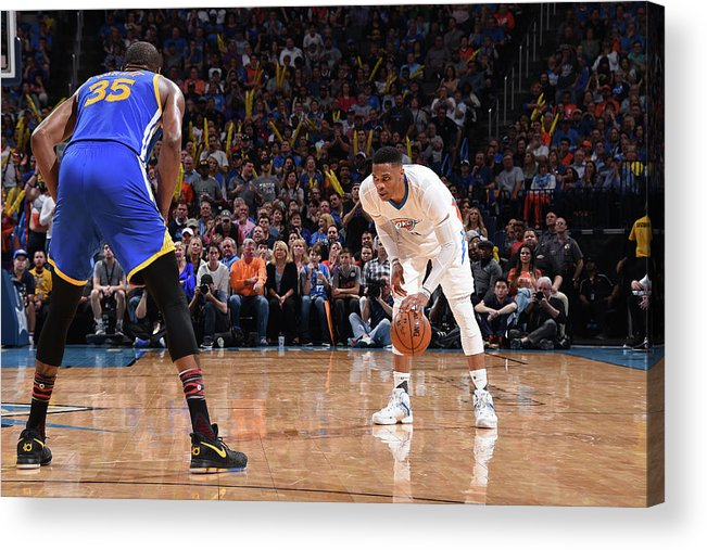 Nba Pro Basketball Acrylic Print featuring the photograph Kevin Durant and Russell Westbrook by Andrew D. Bernstein