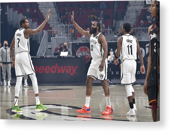 Nba Pro Basketball Acrylic Print featuring the photograph Kevin Durant, Kyrie Irving, and James Harden by David Liam Kyle