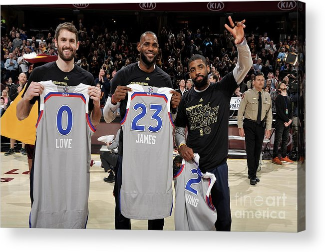Nba Pro Basketball Acrylic Print featuring the photograph Kevin Love, Kyrie Irving, and Lebron James by David Liam Kyle