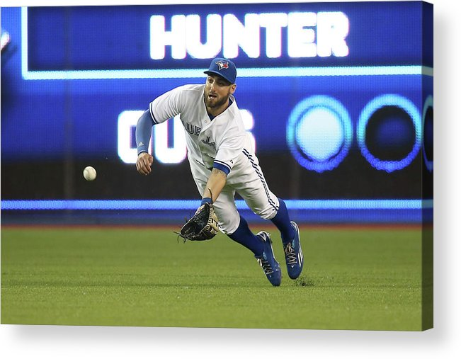 Ninth Inning Acrylic Print featuring the photograph Kevin Pillar and Dee Gordon by Tom Szczerbowski