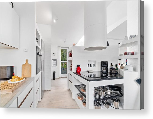 X-factor House In Hedensted Acrylic Print featuring the mixed media Kitchen by Asbjorn Lonvig