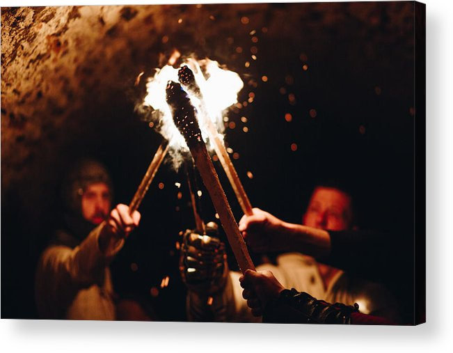 People Acrylic Print featuring the photograph Knights And Fire by Sbdigit