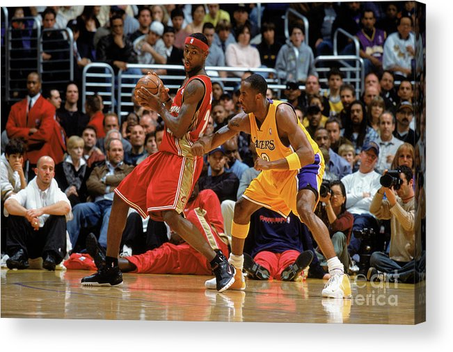 Nba Pro Basketball Acrylic Print featuring the photograph Kobe Bryant and Lebron James by Andrew D. Bernstein