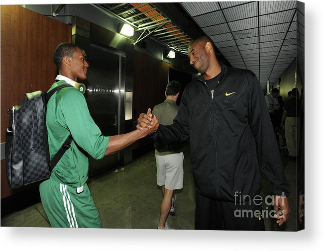 Playoffs Acrylic Print featuring the photograph Kobe Bryant and Rajon Rondo by Andrew D. Bernstein