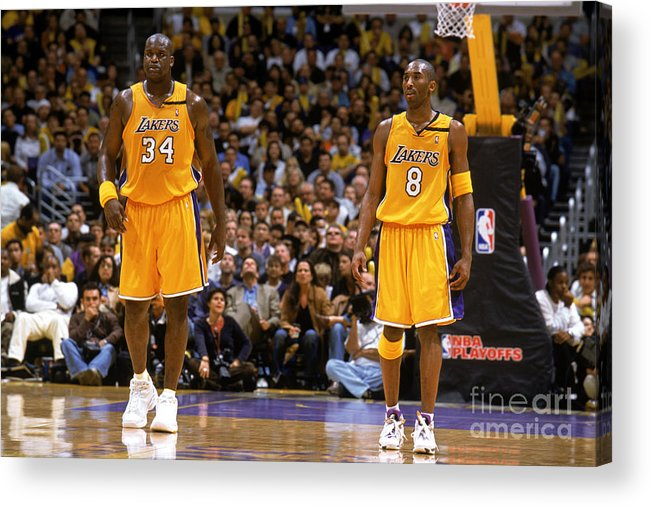 Playoffs Acrylic Print featuring the photograph Kobe Bryant and Shaquille O'neal by Andrew D. Bernstein