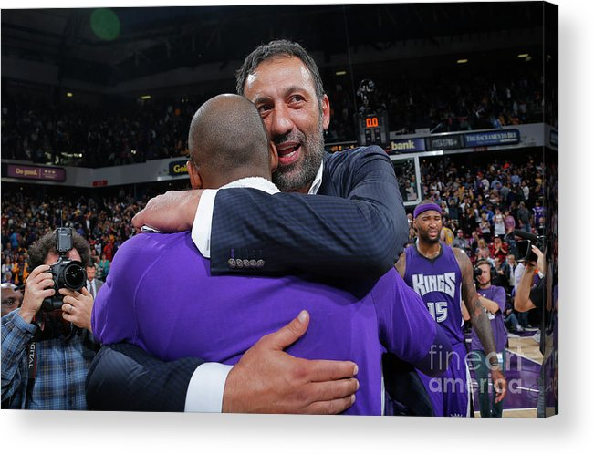 Nba Pro Basketball Acrylic Print featuring the photograph Kobe Bryant and Vlade Divac by Rocky Widner