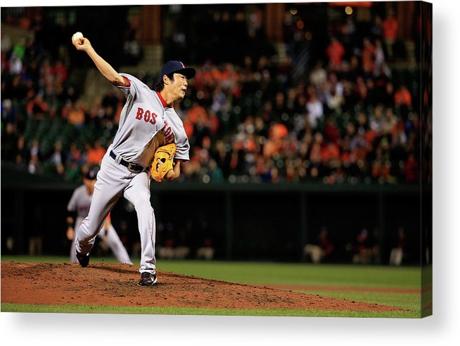 Ninth Inning Acrylic Print featuring the photograph Koji Uehara by Rob Carr