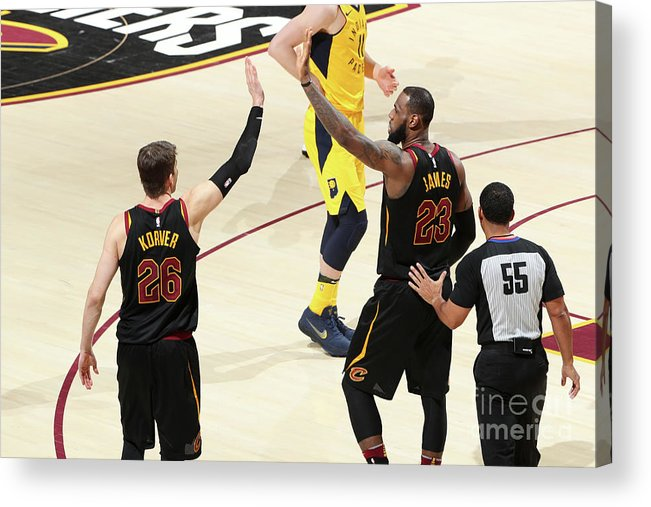Playoffs Acrylic Print featuring the photograph Kyle Korver and Lebron James by Nathaniel S. Butler