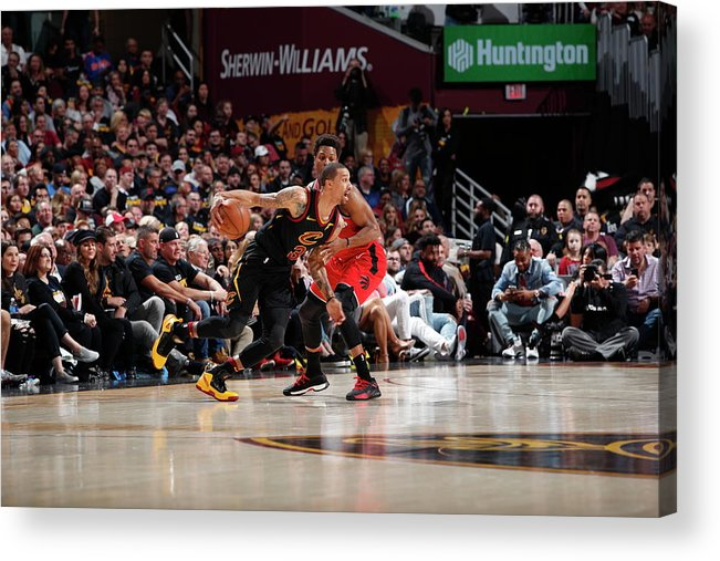 Playoffs Acrylic Print featuring the photograph Kyle Lowry and George Hill by Jeff Haynes