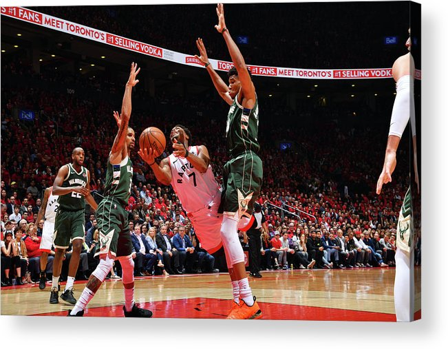 Playoffs Acrylic Print featuring the photograph Kyle Lowry and Giannis Antetokounmpo by Jesse D. Garrabrant