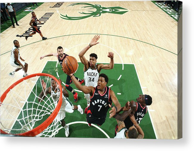 Playoffs Acrylic Print featuring the photograph Kyle Lowry and Giannis Antetokounmpo by Nathaniel S. Butler