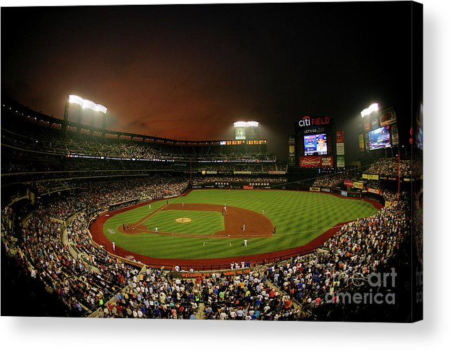 Residential District Acrylic Print featuring the photograph Kyle Mcclellan and Carlos Beltran by Al Bello