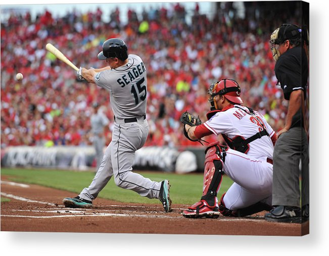Great American Ball Park Acrylic Print featuring the photograph Kyle Seager by Jamie Sabau