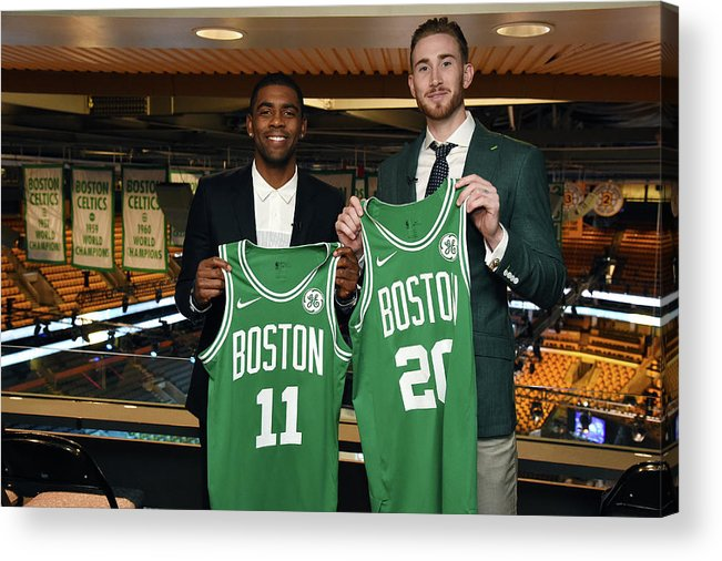 Nba Pro Basketball Acrylic Print featuring the photograph Kyrie Irving and Gordon Hayward by Brian Babineau