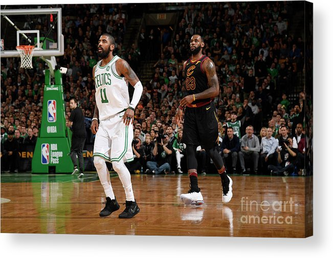Nba Pro Basketball Acrylic Print featuring the photograph Kyrie Irving and Lebron James by Brian Babineau
