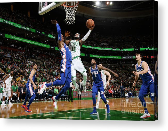 Nba Pro Basketball Acrylic Print featuring the photograph Kyrie Irving and Robert Covington by Brian Babineau
