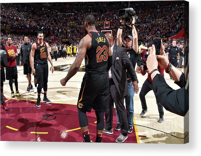 Playoffs Acrylic Print featuring the photograph Larry Nance and Lebron James by David Liam Kyle