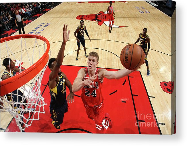 Chicago Bulls Acrylic Print featuring the photograph Lauri Markkanen by Gary Dineen