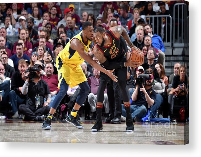 Playoffs Acrylic Print featuring the photograph Lebron James and Thaddeus Young by David Liam Kyle