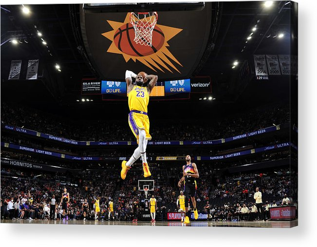 Playoffs Acrylic Print featuring the photograph Lebron James by Barry Gossage