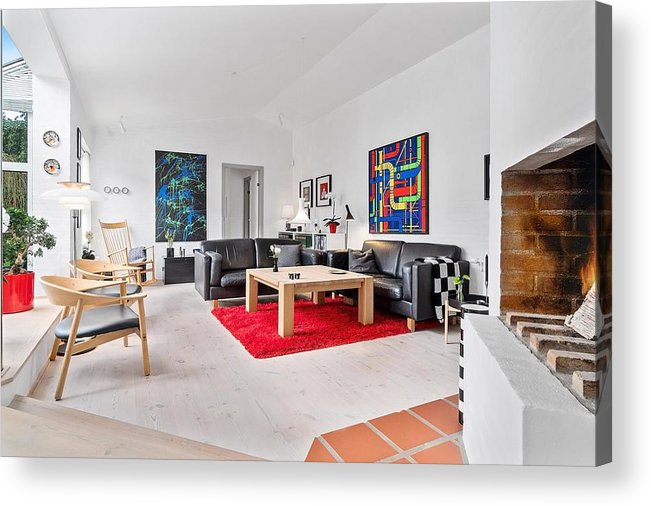 X-factor House In Hedensted Acrylic Print featuring the mixed media Living Room by Asbjorn Lonvig