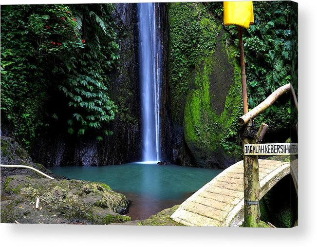 Waterfall Acrylic Print featuring the digital art Lonely waterfall by Worldvibes1