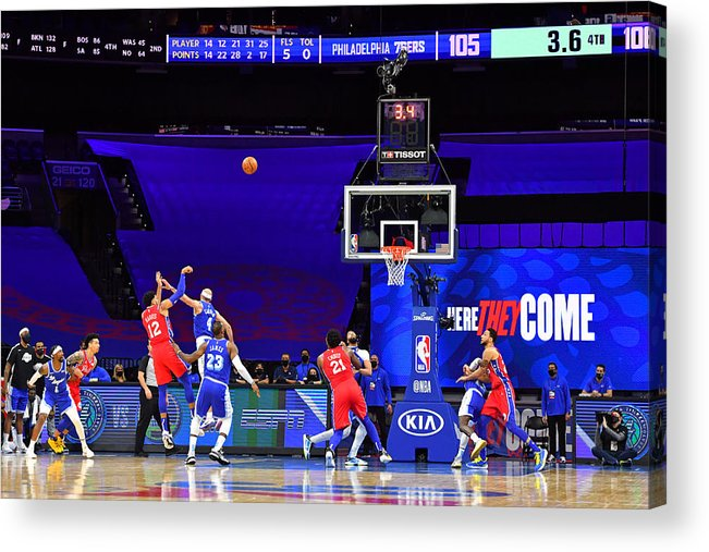 Acrylic Print featuring the photograph Los Angeles Lakers v Philadelphia 76ers by Jesse D. Garrabrant