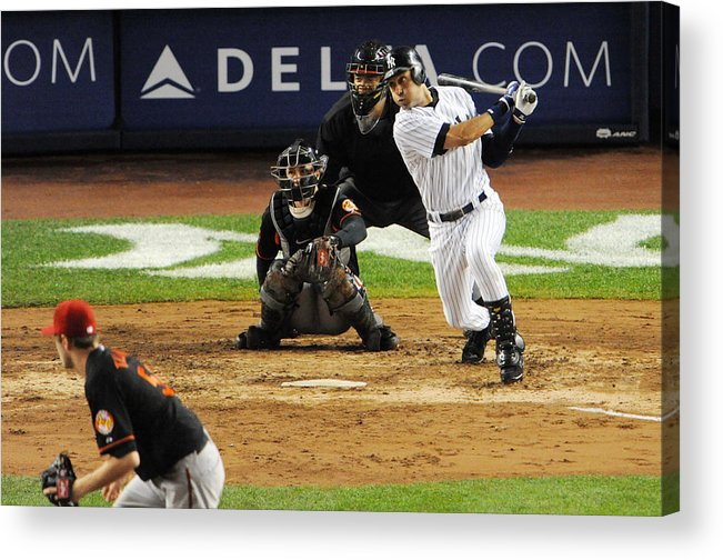 American League Baseball Acrylic Print featuring the photograph Lou Gehrig and Derek Jeter by New York Daily News