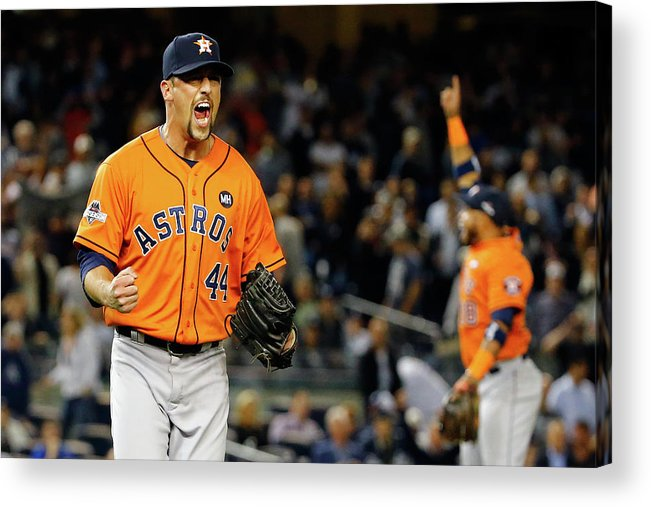 Playoffs Acrylic Print featuring the photograph Luke Gregerson and Luis Valbuena by Al Bello