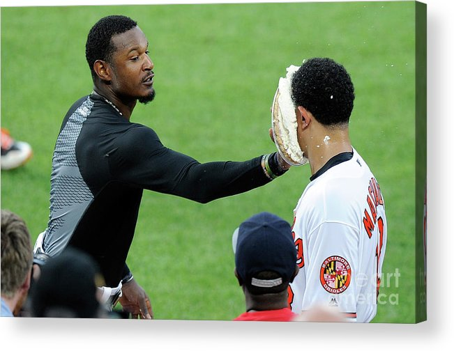 People Acrylic Print featuring the photograph Manny Machado and Adam Jones by Greg Fiume