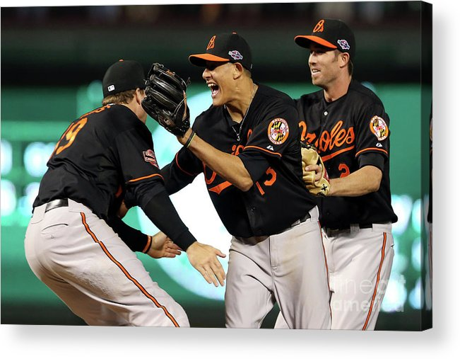 Playoffs Acrylic Print featuring the photograph Manny Machado and Chris Davis by Ronald Martinez