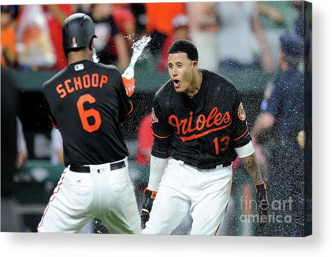 Three Quarter Length Acrylic Print featuring the photograph Manny Machado and Jonathan Schoop by Greg Fiume