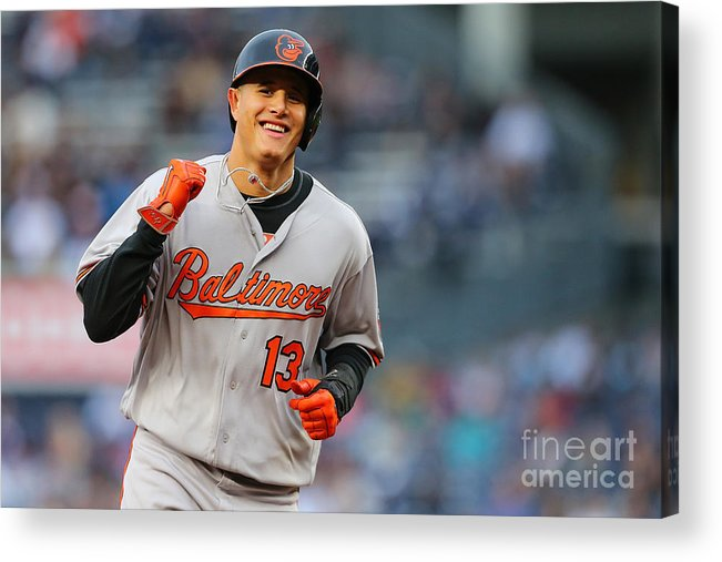 Three Quarter Length Acrylic Print featuring the photograph Manny Machado and Matt Wieters by Mike Stobe