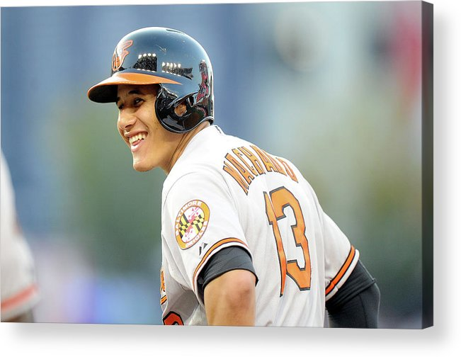 American League Baseball Acrylic Print featuring the photograph Manny Machado by Greg Fiume