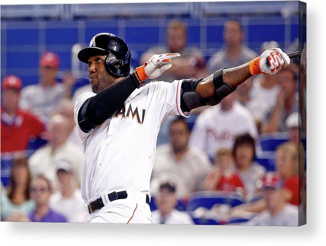 American League Baseball Acrylic Print featuring the photograph Marcell Ozuna by Rob Foldy