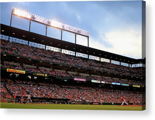 People Acrylic Print featuring the photograph Mark Teixeira and Bud Norris by Rob Carr