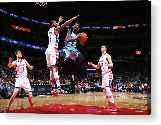 Nba Pro Basketball Acrylic Print featuring the photograph Markieff Morris and James Ennis by Ned Dishman