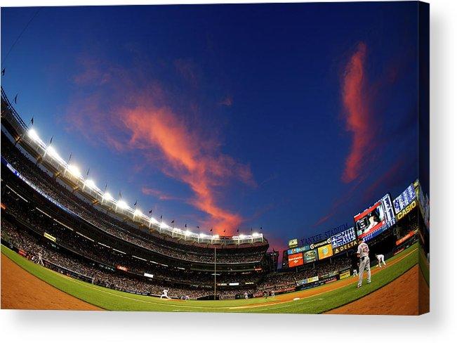 American League Baseball Acrylic Print featuring the photograph Masahiro Tanaka and Daniel Nava by Rich Schultz