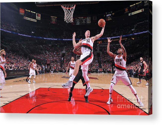 Nba Pro Basketball Acrylic Print featuring the photograph Mason Plumlee by Sam Forencich