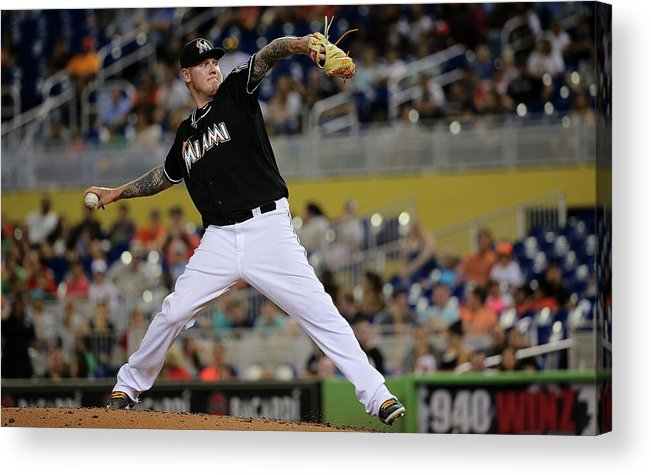 People Acrylic Print featuring the photograph Mat Latos by Mike Ehrmann